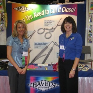 Pokey Bolton, quilt artist and host of Quilting Arts TV, with Bev Crone at the International Quilt Market 2010.