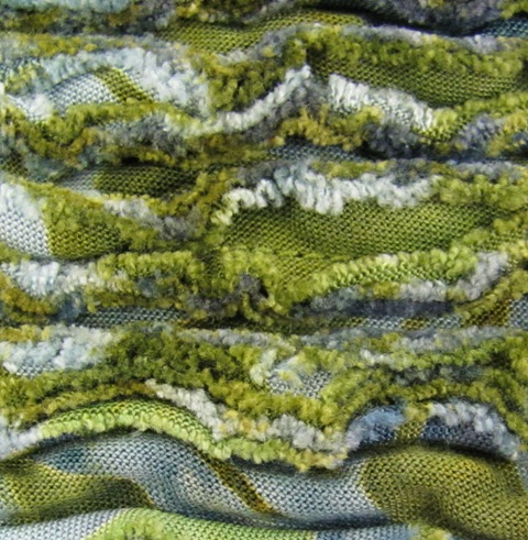 close up of chenille scarf after washing