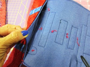 hand sew sleeves on lower portion
