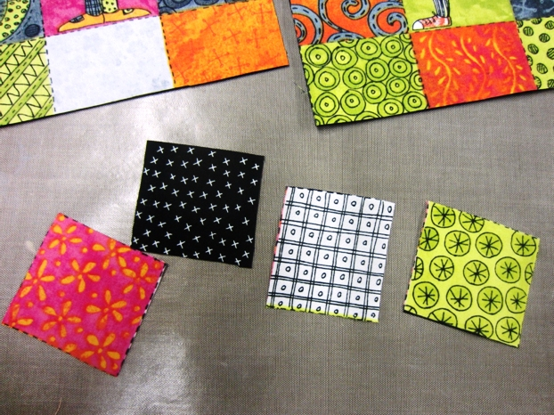Using the squares, you can cut them into smaller pieces and add them to your flags, to add more color, interest and fun.