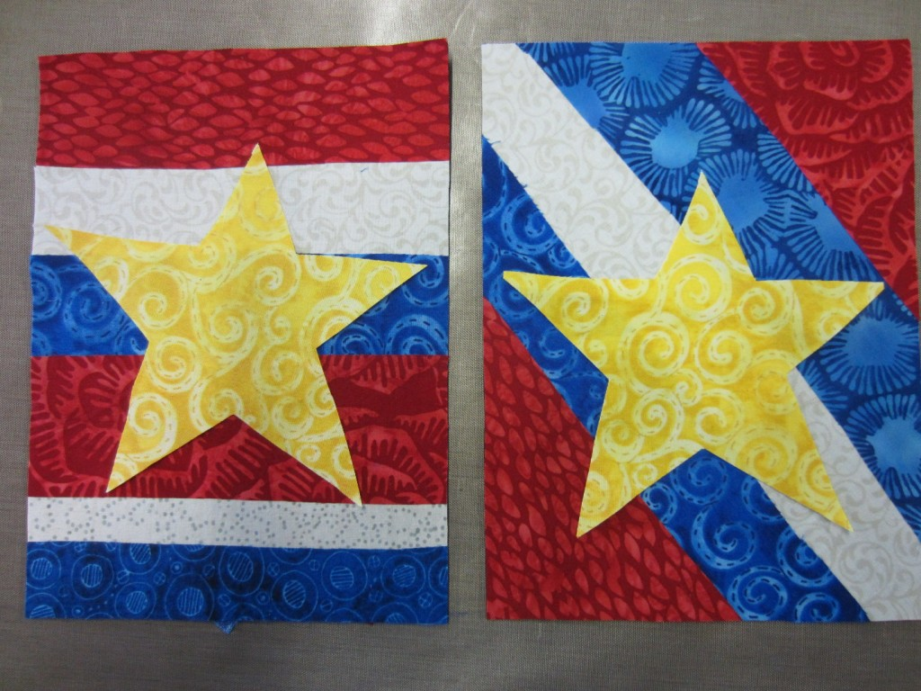 Stars pressed onto background of flags
