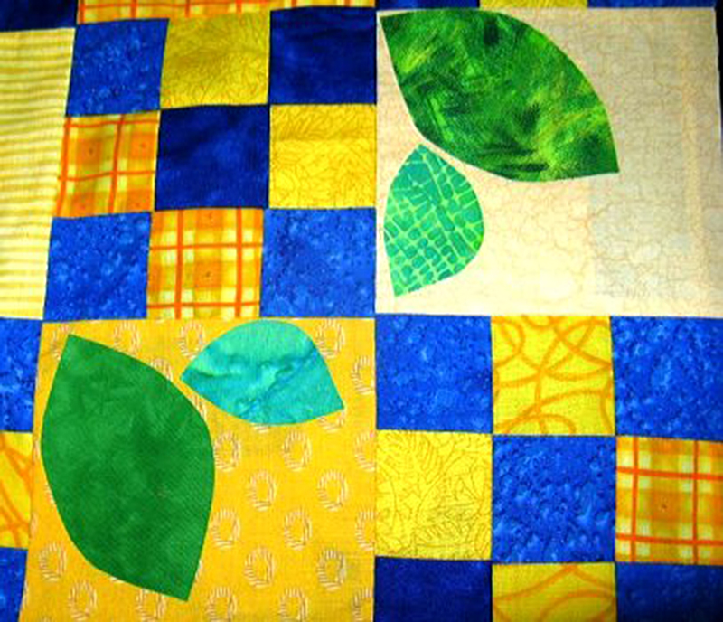 fused-applique-techniques-leaves-on-yellow-squares